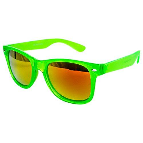 Ciffre Sonnenbrille Nerdbrille Nerd Retro Look Brille Pilotenbrille Vintage Look - ca. 80 verschiedene Modelle Neon Grün Transparent Feuer Glas