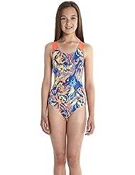 Speedo colour koleido Splashback–Bañador de niña, color Deep Peri/Bleu Poudre/Sirène, tamaño 12 años