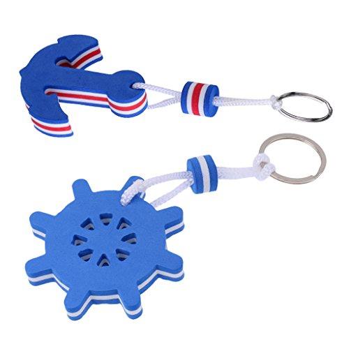 MagiDeal 2 Stück - Schlüsselanhänger mit Schlüsselring, Schwimmend Für Kanu, Kajak, Bootsport (Anker Und Ruder, Blau)