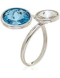 Córdoba Jewels | Anillo en plata de ley 925. Diseño Tú y Yo Swarovski Agua Marina Cristal