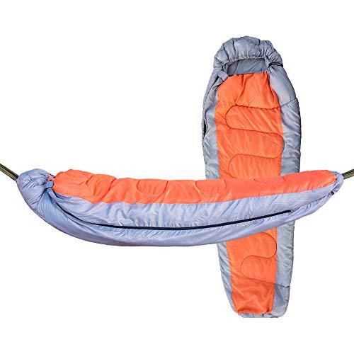 Leaysoo Schlafsack-Multifunktions-trennbare verdickte Hängematte Camping Warm halten Wasserdichte mit Kapuze Lufthängematte,grayorange,a - Schlafsack Camo Kids