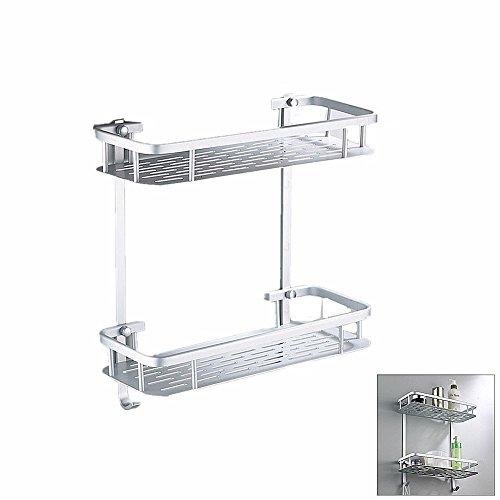 Hensych® Aluminum Duschregal Duschablage Badregal Duschkorb Küchenregal Badezimmerregal Lagerregal Bad WC-Accessoires für Bad / Küche / Bad (2 Etagen - Rechteck)