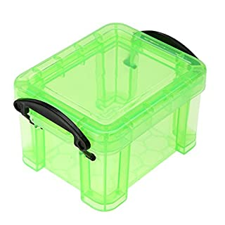 Amazingdeal365 Plastic Storage Box with Lid and Handles, Stackable Mini Storage Box Desktop Container Box for Stationery, Earpiece, Charging Cable, Cosmetics, Jewelry (Green)