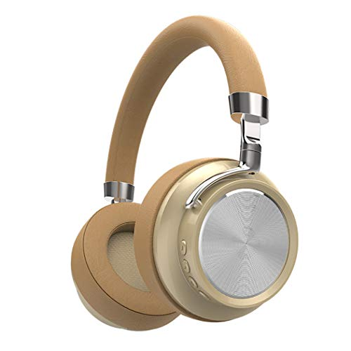 Headset Bluetooth Headset Professional Noise Reduction Surround Sound Retractable Mobile Phone Computer Sports Bluetooth Game Entertainment Advanced Headphones,Beige