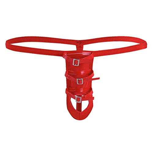 ngs Tanga Thong Leder Bikini Slips G-String Männer Unterwäsche Reizwäsche Erotik Unterhose Rot Einheitsgröße ()