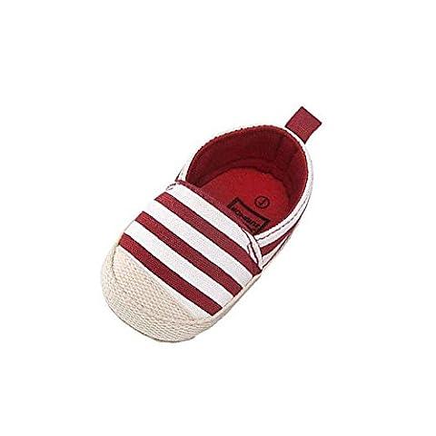 kingko® Fille Stripe toile chaussures Bébés garçons Chaussures Sneaker anti-dérapant souple Sole Toddler (0 ~ 6 mois, Rouge)