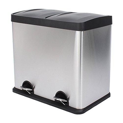 SVITA Treteimer Abfalleimer Papierkorb Mülleimer Mülltrennung Edelstahl (48 Liter 2x24L) - Stahl-schrank-container