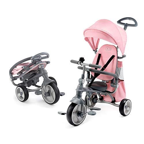 Kinderkraft Triciclo JAZZ 4in1 Passeggino Buggy Regolabile Pieghevole per Bambini con Maniglione Spinta Borsa Per bambino da 9 mesi fino 5 anni Rosa