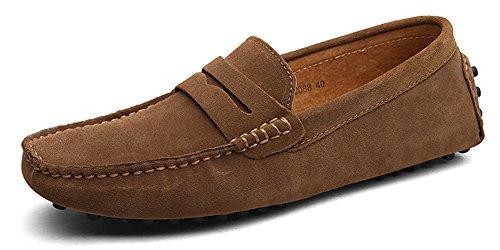 Eagsouni Herren Mokassin Bootsschuhe Wildleder Loafers Schuhe Flache Fahren Halbschuhe Slippers (Leder-kleid-schuhe Halbschuhe)
