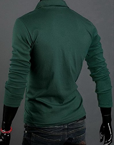 Lukis 1stk. Herren Polo Shirt Langarm Slim Fit Dunkelgrün
