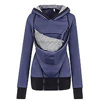 95sCloud dames draagjas dames sweatshirts met capuchon moederschap zwangerschapsjas overgangjas winter fleece jack pullover draagdoek babydrage capuchon draagtrui tops (blauw, XL)