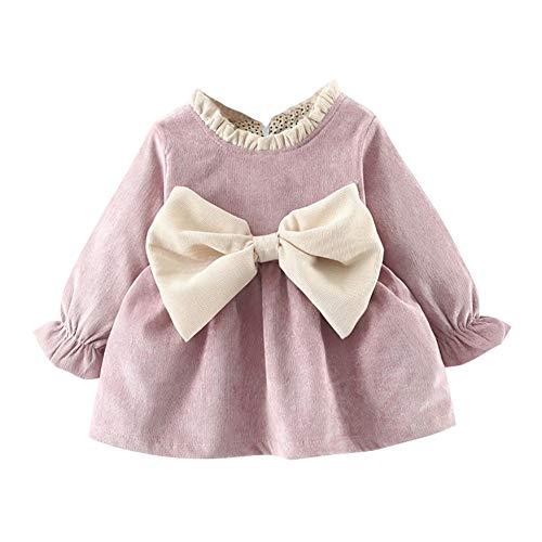 Baywell Baby Mädchen Prinzessin Kleid Winter Kostüm Kleinkind Mädchen Plus samt großen Bogen Kleid Kinder Lange Ärmel Kleid Herbst Gekräuselten Pullover - Kleinkind Großes Kostüm