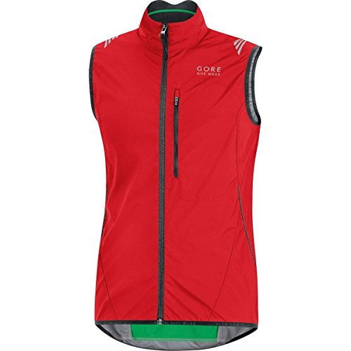 GORE BIKE WEAR, Gilet ciclismo Uomo, Leggero e Antivento, GORE WINDSTOPPER Active Shell, ELEMENT WINDSTOPPER® Active Shell, Taglia L, Rosso, VWLELE350005