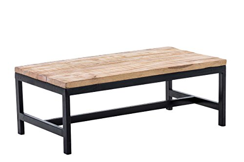 CLP Table Basse de Salon en Bois Ramesh – Table de Salon Rectangulaire Un Design Industriel Plateau en Bois de Manguier Support en Métal – Entretient en Facile - 100 x 55 cm: Noir
