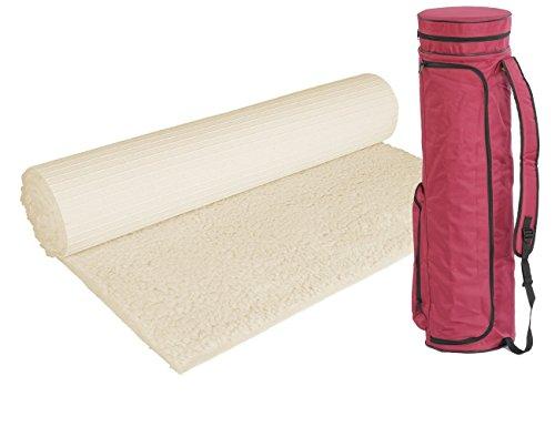 Bausinger Yogaset: Yogamatte für Allergiker, Florhöhe 20mm, 100 x 200 cm, natur, mit passender Yogatasche in weinrot