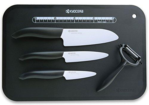 Kyocera Keramikmesser Set- 3 Messer Griff schwarz + Keramikschäler + Schneidunterlage Fb. schwarz Kyocera-3