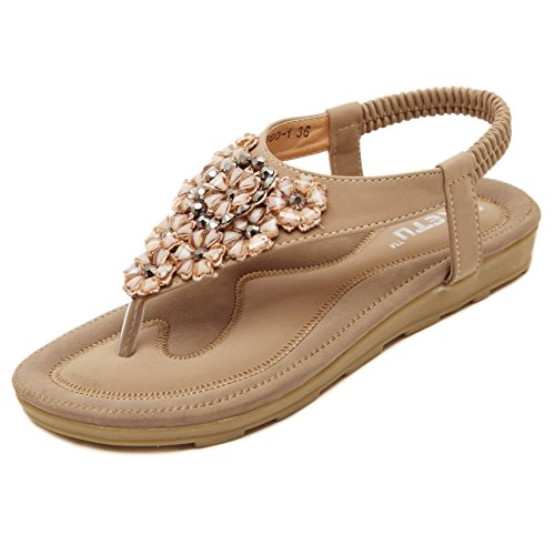 Zoerea sandali da donna da estate, modello con infradito pu cuoio bassi sandali elegante bohemia perline decorare a forma di fiore(eu 40, beige)