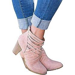 Botines Mujer Tacon Alto, Cuero Botas 7 Cm Otoño Zapatos De Botas Comodos Fiesta Rosado 37