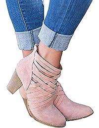 Botines Mujer Tacon Alto, Cuero Botas 7 Cm Otoño Zapatos De Botas Comodos Fiesta Marrón