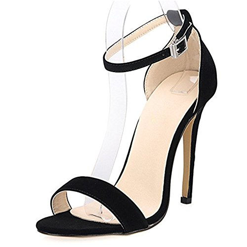 Damenschuhe Open Toe Mehrfarbig Sandalen High-Heels Stiletto Riemchen Samt Schwarz