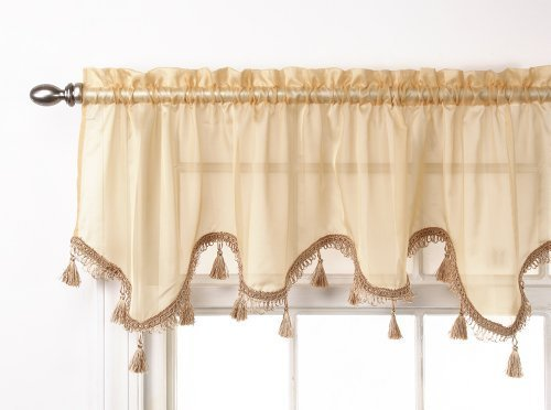 Stylemaster Lucky Striped Scalloped Valance, 57-Inch by 17-Inch, Gold by Style Master Scalloped Gold
