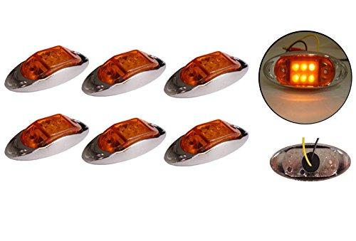 6x 12/24V 6LED Seite hinten vorne chrom Marker Bernstein orange Licht Lampe Trailer Pferdeanhänger Van -