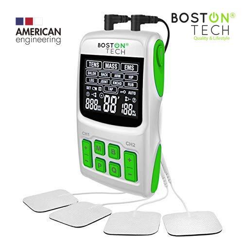 Boston tech we-112 - tens/ems/masaje, unidad de electroterapia profesional digital 3 en 1. pantalla lcd, 2 canales, 4 electrodos autoadhesivos. recomendado por fisioterapeutas y entrenadores (unità)