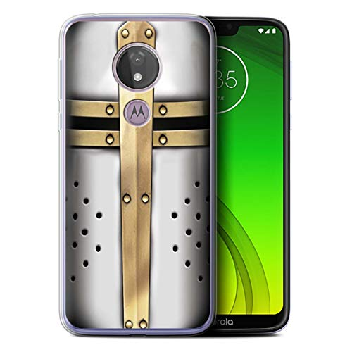 eSwish Gel TPU Hülle/Case für Motorola Moto G7 Power/Kreuzritter Helm Muster/Ritter Rüstung Kollektion