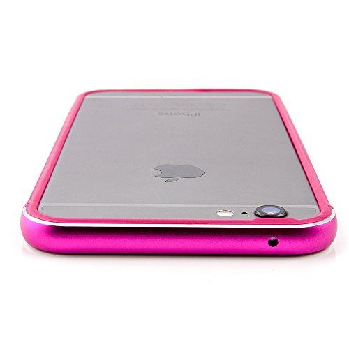 iPhone 6 / 6s Plus Aluminium Bumper - Hülle Metall Cover für iPhone 6/6s Plus (5,5'' Zoll) in space grau - Die Schutzhülle aus Aluminium mit Silikon Dämpfern macht den Rahmen besonders leicht und dünn pink
