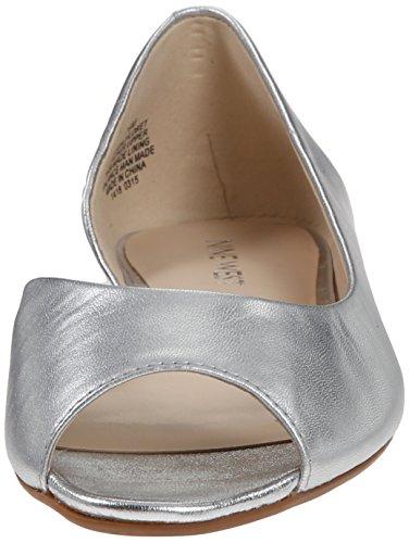 Ballet Nine West Bachloret Metallic Flat Silver Mt