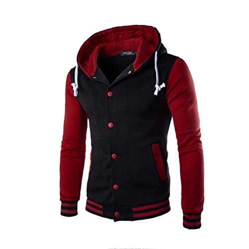 Sudaderas Hombre, Xinan Hombres Abrigo Chaqueta suéter de Invierno Delgado con Capucha Sudadera (L, Rojo)