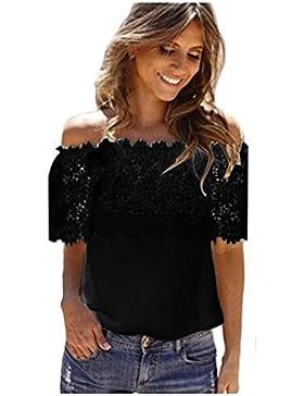 Rcool Mujeres Atractivas Fuera del Hombro Top Casual Blusa Encaje Crochet Chiffon Shirt