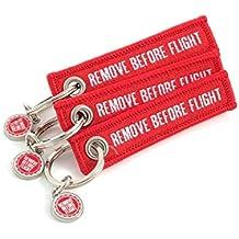 Llaveros - REMOVE BEFORE FLIGHT *** Edición MINI *** - 3 piece pack - Rojo con letras blancas