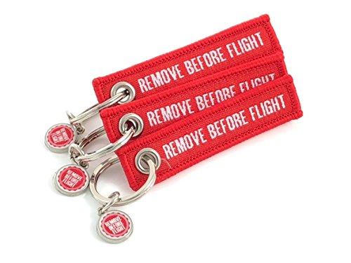 3er-Set Mini Schlüsselanhänger REMOVE BEFORE FLIGHT (Rot) (Baumwoll-Öse Gewebte)