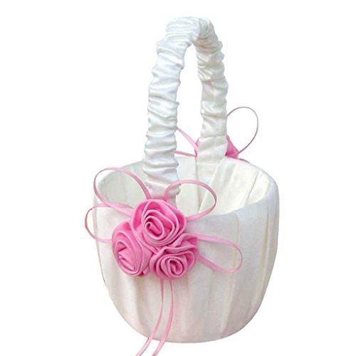 meisijia Lace Collection Hochzeit Blumenmädchen Korb Rosa Rose Blumen Korb für die Hochzeit Rosa