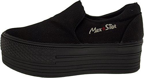 Maxstar C50 Spandex, plateforme supérieure en Toile-Ons Baskets chaussures Noir - noir