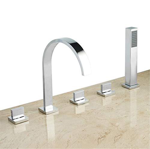 STEAM PANDA Bad Wasserhahn Hot and Cold Badewanne Wasserhahn Duschkopf Ziehen Wasserhahn 5-Teiliges Set Große Gebogene Rohr Outlet