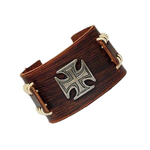 Original Tribe Uomo d'epoca in pelle marrone braccialetto del polsino, cuoio fascia di polso del Wristband gioielli artigianali Sl2257