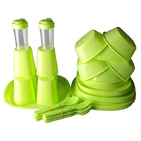 Panier de pique-nique 48 pièces Ensemble de vaisselle Table de camping Panier de pique-nique 6