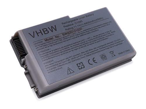 vhbw Batterie LI-ION 4400mAh 11.1V Argent Compatible pour Dell remplace 0X217, 1X793, 310-4482, 310-5195, 312-0068, 312-0191, 312-0309