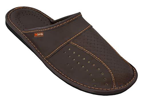 BeComfy Herren Hausschuhe Genuine Leather Manner Pantoffeln aus Echtleder Schwarz Braun Rot 40 41 42 43 44 45 46 (44 EU, Braun 1)