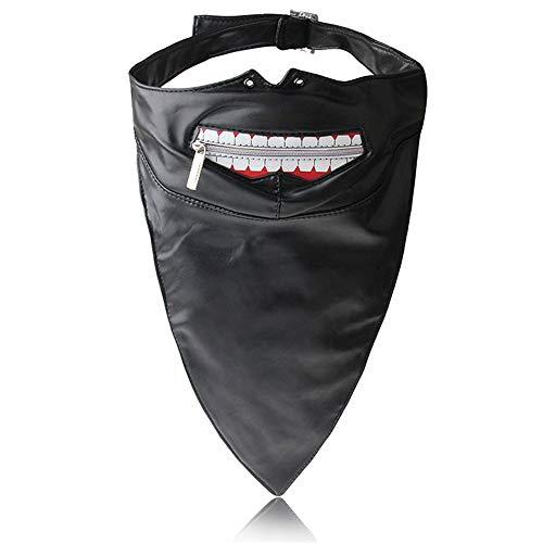 Professionelle Handschuhe Maske Leder Vollmaske Unisex Kapuze Reißverschluss Augen Mund Schnürung Sicherheits-Werkzeugzubehör