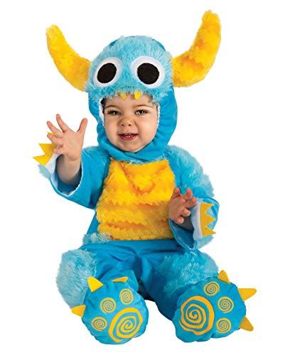Monster Kostüm Blau Baby - Horror-Shop Blaues Keks Monster Plüsch Kostüm für Babys an Halloween S