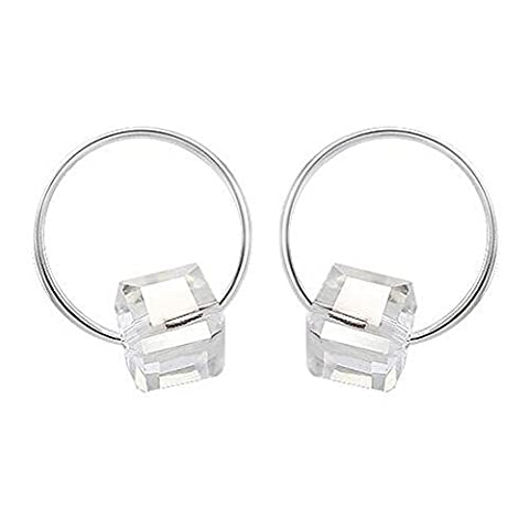 Winter Secret de Lovely Lohas Fille Little Petit Cercle Blanc Cube Sucre Cristal Plaqué Argent Boucles d'oreilles