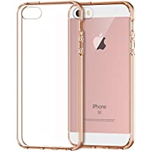 iPhone SE Coque, JETech Apple iPhone SE/5/5S Coque Housse Etui anti chocs Back Cover Bumper Case Anti Scratch Shock Absorption for Apple iPhone 5/5S/SE (Rose Or) - 0427