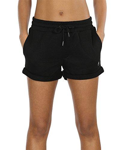 icyzone Damen Shorts Sport Yoga Kurze Hose Sweatpants Laufshorts Baumwolle (L,Black) (Damen-yoga-hosen Kurz)