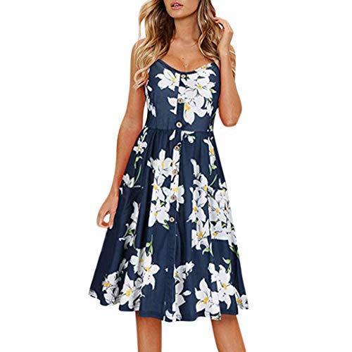 TUDUZ Vestidos Mujer De Verano Estampado De Playa Elegante Vestido (Azula, XL)