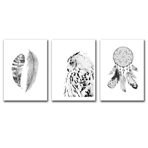 Arte de Pared en Blanco y Negro Lienzo Pintura búho nórdico Cartel Abstracto atrapasueños Cuadros de Pared para Sala de Estar Enmarcado 30cmx50cmx3