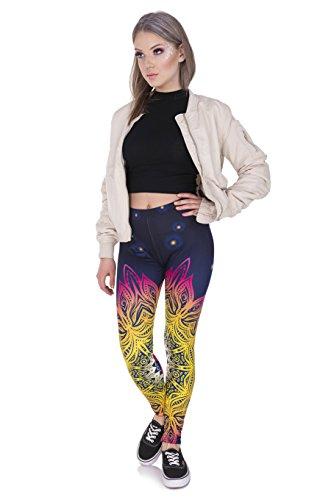 Kukubird Gedruckte Muster Frauen Yoga Leggings Gym Fitness Running Pilates Strumpfhose Skinny Pants 8 bis 12 Stretchable Mandala Light