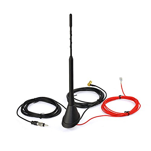 Eightwood DAB+ Antenne Digital Radio FM/AM Kombi DAB Antenne SMB Stecker DIN Male Adapter Auto Radio Antenne Splitter Fahrzeug Dachmontage Signal Amplifier 500cm 16.4ft mit Flexible 23cm Stab für Blaupunkt TechniSat Pioneer Sony Kenwood Alpine JVC